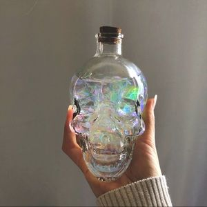 Clear Glass Skull Vase